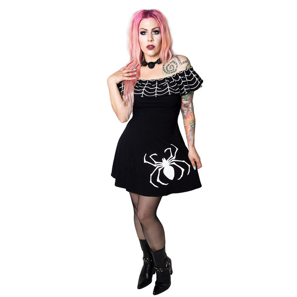 Ruffle Spiderweb White Dress by Kreepsville 666