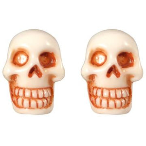 Skull Stud White Earrings by Kreepsville 666