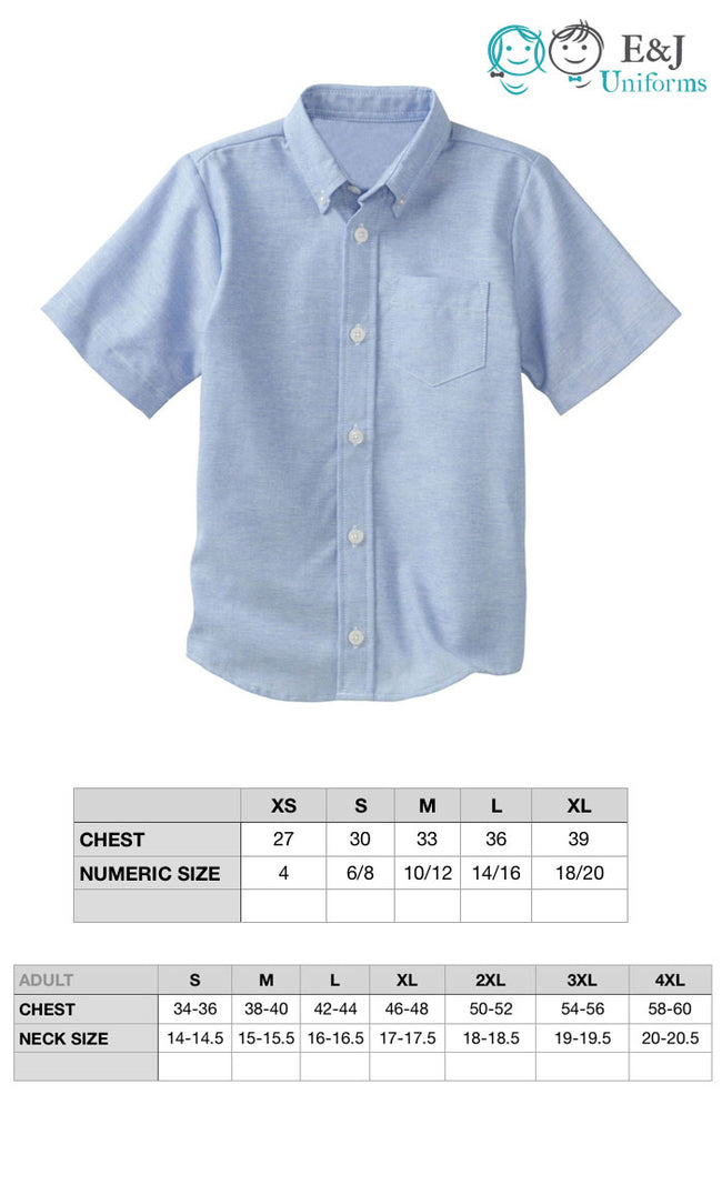 Boys Short Sleeve Oxford Shirt With School Embroidery Logo Included