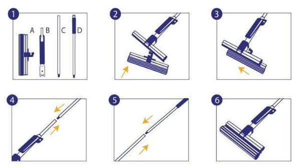 CleanAid OneTouch Magic Mop voor vloerreiniging hoe de mop te vervangen illustratie