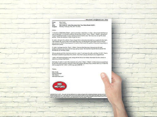 Printed Email Buyback Offer Letter | Automotive Direct Mail Marketing