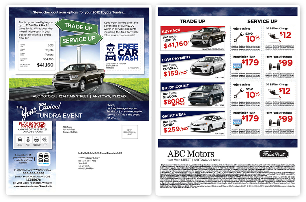 Trade Up or Service Up Buyback Campaign | Automotive Direct Mail Marketing