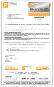 Direct Mail Sample | Platinum Auto Funding | Special Finance Credit Letter