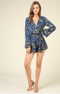 Timing Long Sleeve Floral Romper