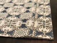 Custom  Made Faux Roman Shade Valance in Blue Spanish Tile Design with Grey and Brown on Flax Cotton Linen, Custom Sizes, Fully Lined