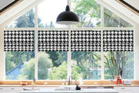 Custom-Made Faux Roman Shade Valance, Black & White Houndstooth Print, 100% Cotton. Fully Lined and Ready to Hang