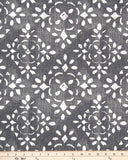 Avila Sable Grey & White Stencil Print Fabric for Custom Made Window Treatments
