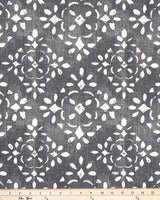 Avila Grey & White Stencil Print Fabric for Custom Window Treatments