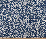 Navy and White Floral Print Fabric