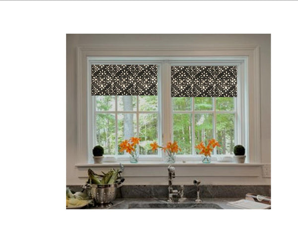 Custom Made Straight Valance in Avila Sable Grey Stencil Print, Fully Lined, Modern Farmhouse Kitchen Valance, Machine Wash, Ready to Hang