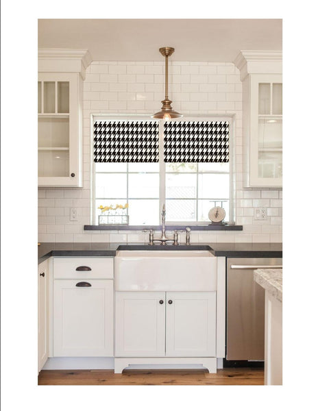Straight Valance Custom Made in Black and White Houndstooth Print, Fully Lined, Modern Farmhouse Straight Kitchen Valance, Ready to Hang