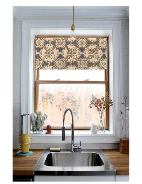 Straight Valance in Blue Spanish Tile Design in Grey and Brown Cotton Linen Fabric , Custom Made, Fully Lined Farmhouse Kitchen Valance