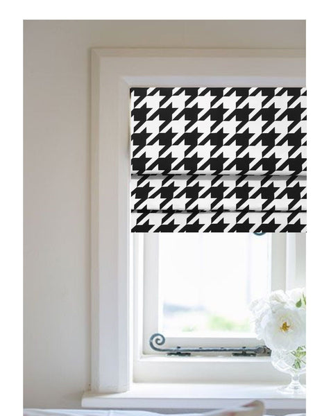 Faux Roman Shade Valance in Modern Black & White Jumbo Houndstooth Print, Premium Cotton Linen, Fully Lined, Custom Made  Kitchen Valance