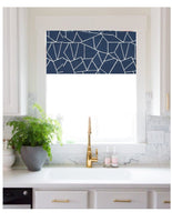 Straight Custom Valance in Modern Cut Glass Print, Navy, Black, Grey and White on Cotton Slub Canvas, Fully Lined Kitchen Window Treatments