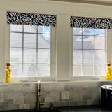 Straight Custom Valance in Navy Blue and White or Caribbean Blue Floral Print, Premium Cotton Linen Fabric, Fully Lined Kitchen Valance