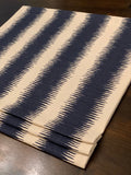 Faux Roman Shade Valance in Navy Blue Ikat Stripe on Birch/Ivory Textured Cotton (similar to bark cloth), Fully Lined, Custom Made Valance