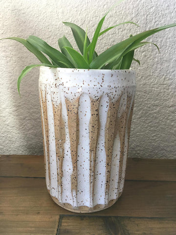 Kind Pottery - White Carved Ceramic Vase Rustic Farmhouse