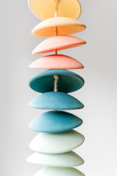 Ceramic chimes in light yellow / coral / teal / seafoam