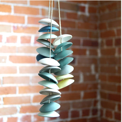 Handcrafted Ceramic Chimes in blues and greens