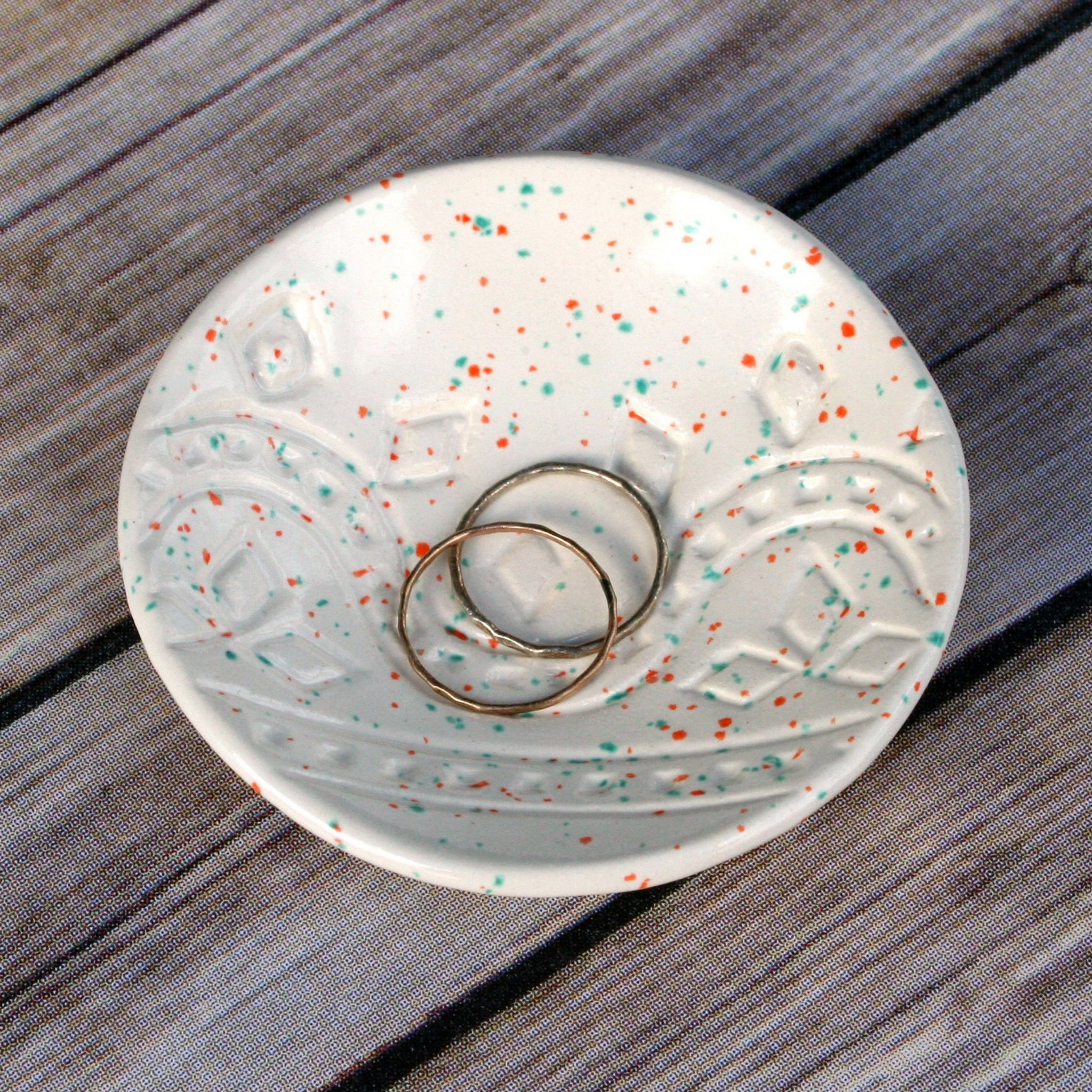 Speckled White Ring Dish - Confetti glaze