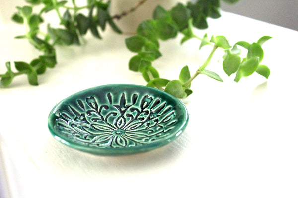Emerald Ring Dish with Scandi Pattern