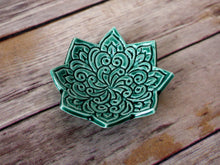 Star Shaped Ring Dish - Emerald Green Jewelry Holder, Boho floral pattern
