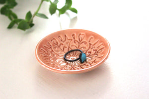Peach Ring Dish with Scandi Pattern