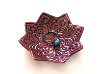 Plum Star Ring Dish - Handmade Jewelry Holder stamped with Boho floral pattern