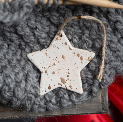 Star Ornament - Handcrafted Ceramic Christmas or Holiday Decor - speckled stoneware with gold leaf - gift box included