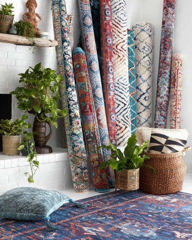 Large selection of colorful rugs and throw pillows in all shapes and sizes from World of Rugs show how easy it is to decorate a living room