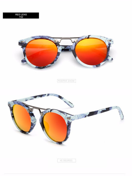 Wood Print Round Keyhole Sunglasses