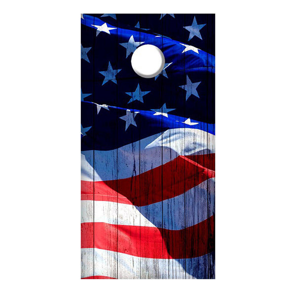 2 Cornhole Board Decals - Horizontal Waving American Flag