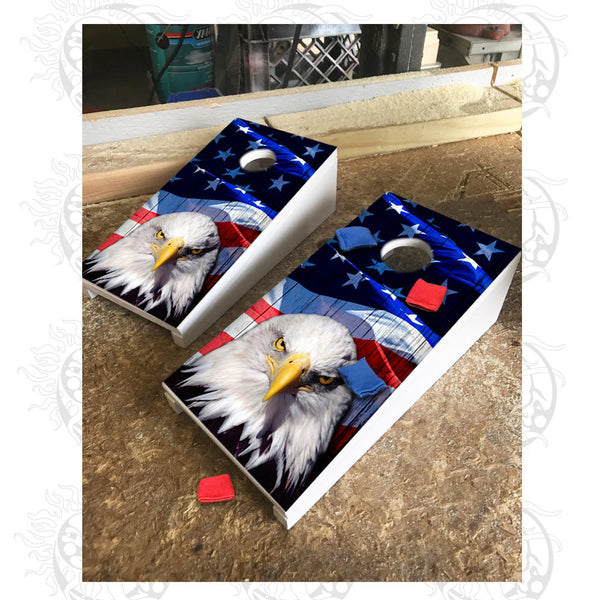 Table Top Cornhole Board Game - Eagle on American Flag - FREE Shipping!
