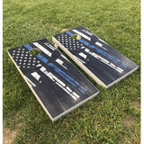 2 (TWO) Cornhole Board Decals - Punisher Red Blue Line AND American Flag Thin Red Line