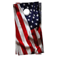 2 (TWO) Cornhole Board Decals - Vertical Waving American Flag