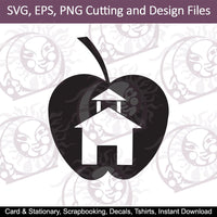 Back To School | School House Apple | SVG | EPS | PNG Cutting and Design Files | Instant Download