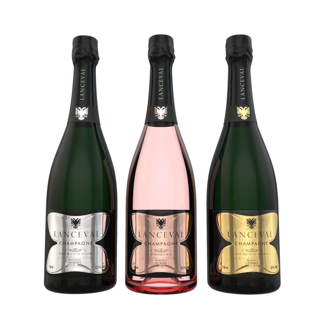 Lanceval World - 1X Luxus Blanc de Blancs - 1X Luxus Blanc de Noirs- 1X Luxus Rosé - in Coffret