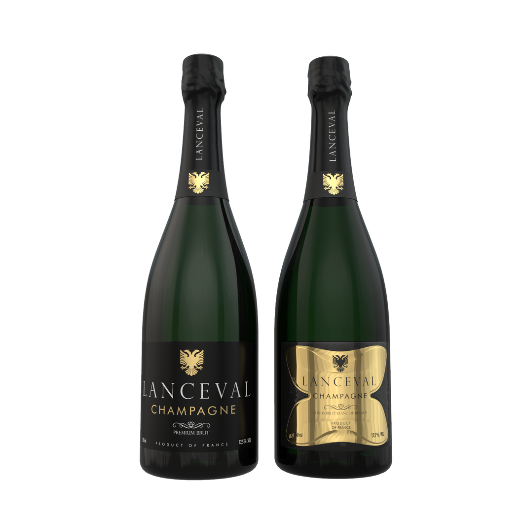 Lanceval World - 1X Premium Brut - 1X Luxus Brut Blanc de Blancs - in Coffret