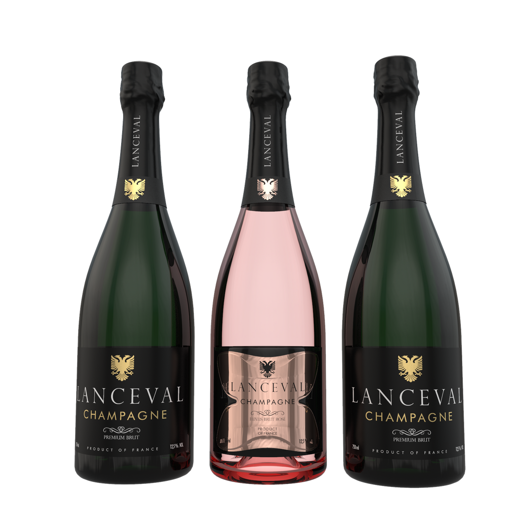Lanceval World - 2X Premium Brut - 1X Luxus Brut Rosé - in Coffret