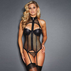 2017 New Hot Design Turtleneck Fishnet Sexy Corset Exotic Vinyl Leather Body Shaper Teddy Lingerie Full Zipper Down Underwear