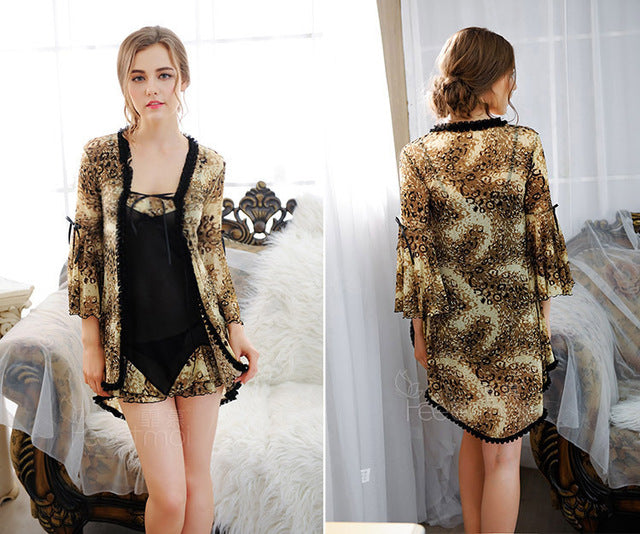 Luxury High Quality Lady Leopard Lace Gauze Nightwear Soft Fabric Floral Sleeve Sexy Night Robe Erotic Intimates Slips Lingerie