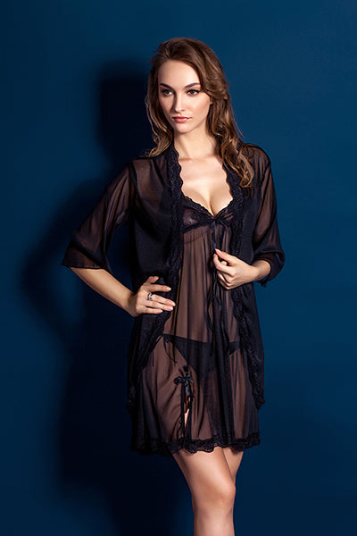 Purple Black Women Sexy Temptation Nightdress Lace Floral Nightgowns Perspective Romantic Adytum Night Robes Intimates Slips