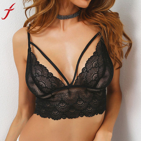 Sexy Women Bra Floral Lace Bralette Bustier Crop Top Sheer Triangle Three Quarters Everyday Bra Vest push up bra Intimates