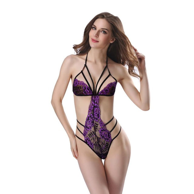 Women Sexy Lingerie Lace Teddy features Plunging Eyelash and Snaps Crotch