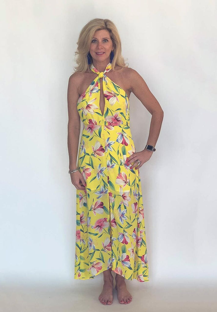 Floral Halter Wrap Dress