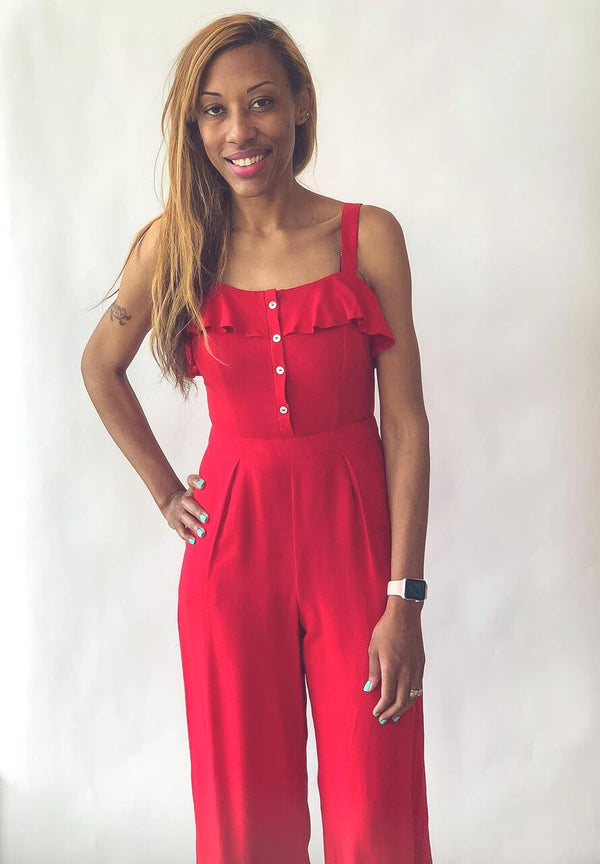 Sleeveless Ruffle Jumpsuit