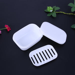 1pc Home Travel Soap Box Soap Holder with Lid Seal Leak-proof Dish Drain Layer Portable Case Storage Basket Bathroom Products - 101 Soaps