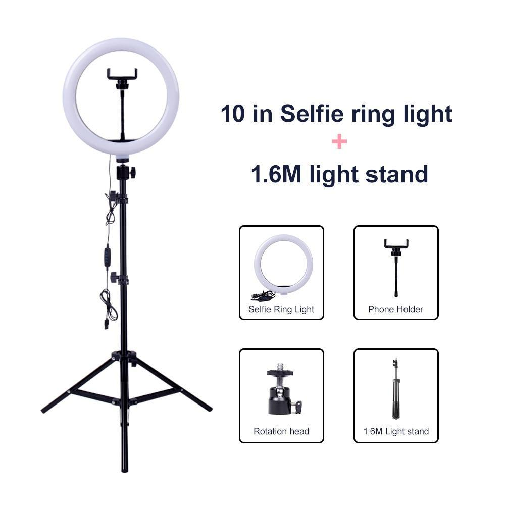 Video Light Dimmable LED Selfie Ring Light USB ring lamp Photography Light with Phone Holder 2M tripod stand for Makeup Youtube - Inspired Uplift Store