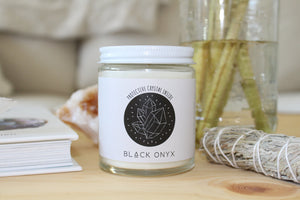 Black Onyx Crystal Candle