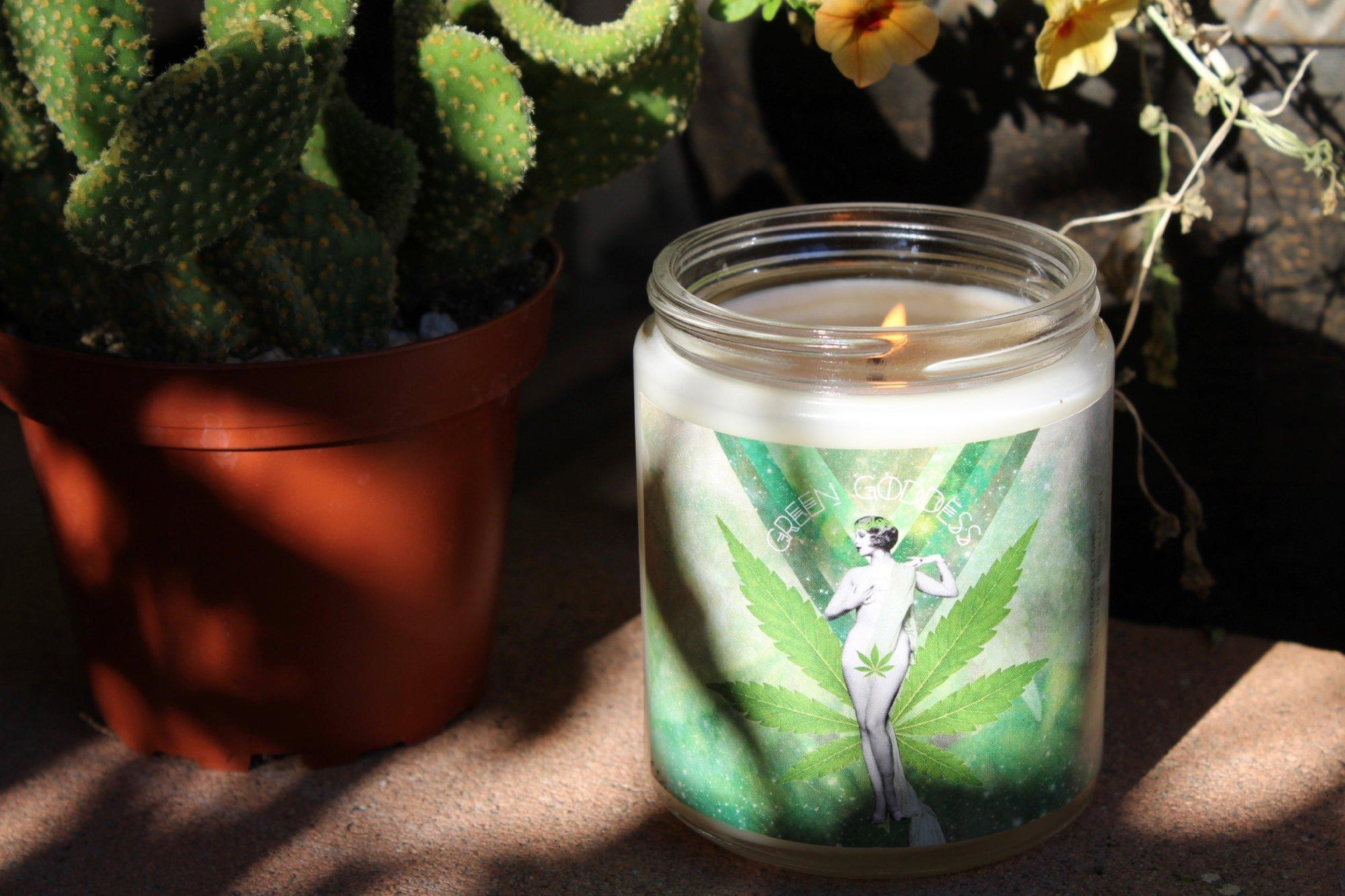 green goddess cannabis candle